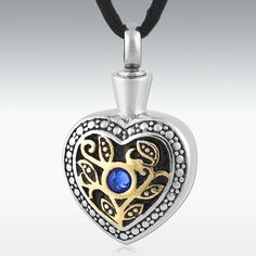 Marigold Heart Stainless Steel Cremation Jewelry - Engravable