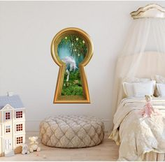Keyhole Removable Wall Decal Enchanted Lantern Forest Alice In Wonderland Fairytale Fantasy Portal Wall Mural – Fairy Tale Anime Fairy Bedroom, Fantasy Bedroom, Kids Bedroom, 3d Wall Decals, Removable Wall Decals, Wall Murals, Enchanted Forest Bedroom, Fairytale Room, Fairytale Home Decor