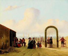 """Joseph Bles (1825-1875) Voor de Armen staat op de boog van de Armenbrug geschiilderd. 73 jaar lang werden duiten geïnd van de welgestelden, die gebruik wilden maken van het houten plankier naar de branding. Links staat het Kalhuis, waar oude vissersmannen en vrouwen kwamen """"kallen"""" ofwel kletsen. (Coll. Simonis&Buunk, Ede)"""