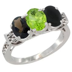 14K White Gold Natural Smoky Topaz, Peridot and Black Onyx Ring 3-Stone Oval 7x5 mm Diamond Accent, sizes 5 - 10 -- Quickly view this special  product, click the image : Ring Bands