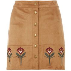 Dorothy Perkins Tan Embroidered Suedette Skirt (195 RON) ❤ liked on Polyvore featuring skirts, bottoms, brown, brown skirt, dorothy perkins, tan skirt, embroidered skirt and beige skirt