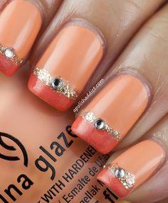 DIY Orange and Gold Nail Polish Ideas! China Glaze Peachy Keen base Coat! #DIY #Orange #Gold #Swarovski #Crystals #Nail_Polish #Ideas