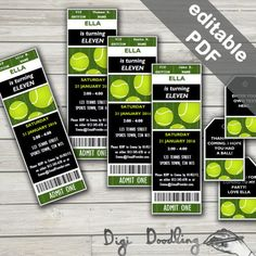 Tennis Party Invitations & Tennis Party Favor Tags. Editable