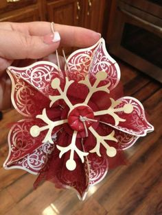 Beautiful ornament by binkiemonstermom at Splitcoaststampers.  This uses the ornament punch?