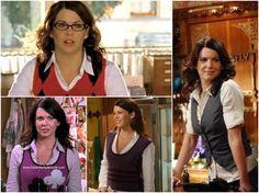 White Button down and vest worn on Gilmore Girls by Lorelei Gilmore Girls Lorelei Gilmore's Style #LoreleiGilmore #style #gilmoregirls  http://www.practicallyfashion.com/lorelai-gilmores-style/