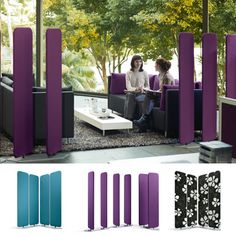 f you already have some low-back office sofas and want to improve their privacy, have a look at Viswall Room Divider  It consists of two upholstered panels available in 14 colours.