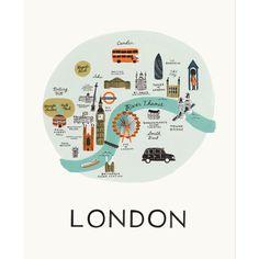 London Map 8x10 Art Print