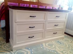 IKEA hack - double dresser with Rast, moulding and wood top