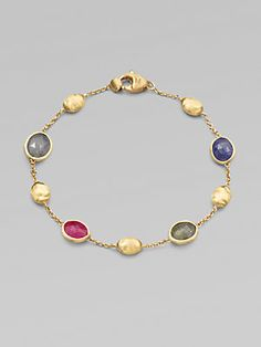 Marco Bicego 18K Yellow Gold Multicolored Sapphire Station Bracelet