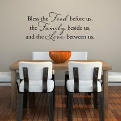 Bless the Food before us the Family beside us and the Love between us Wall Decal  Kitchen Decor by StephenEdwardGraphic