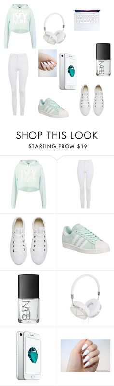 """Hip music producer look"" by lolohall ❤ liked on Polyvore featuring Ivy Park, Topshop, Converse, adidas, NARS Cosmetics and Frends"
