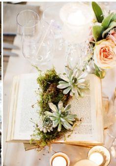 moss, succulents & books!! :-D