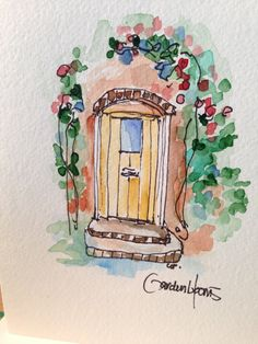 Charming Doorway Watercolor Card by gardenblooms on Etsy