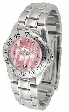 Western Michigan University Ladies Pink Designer Dress Watch by SunTime. $72.95. Officially Licensed Western Michigan Broncos Ladies Pink Designer Dress Watch. Scratch Resistant Crystal - Calendar Function With Rotating Bezel. Women. Stainless Steel-Mother Of Pearl Dial. Links Make Watch Adjustable. Western Michigan Broncos ladies watch. College women's pink stainless steel dress watch with mother of pearl and Swarovski crystals. Date calendar function plus a rotating bezel...
