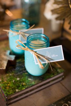 Soy Candle in Blue Ball Mason Jar I want to make these but in 4oz jam jars instead. I might even attempt to do the blue color.