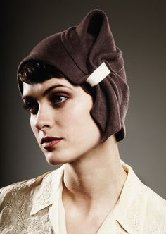 brown cloche w/ eggshell detail by yellowfield7on Etsy