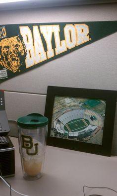 My desk at work. // #Baylor proud! #sicem