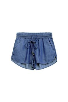 Dark blue denim colored dolphin shorts with two functional pockets and an…