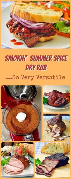 Smokin' Summer Spice Dry Rub - the only barbecue spice dry rub you will need for the entire season. A delicious blend of smoky herbs and spices that's delicious on burgers, chicken, beef brisket, stea Homemade Spices, Homemade Seasonings, Sandwich Croque Monsieur, Dry Rub Recipes, Spice Rub, Spice Mixes, Spice Blends, Meat Rubs, Marinade Sauce