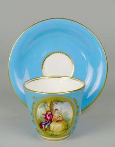 Coalport porcelain cup and saucer, circa 1860
