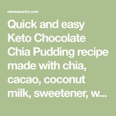 Quick and easy Keto Chocolate Chia Pudding recipe made with chia, cacao, coconut milk, sweetener, water, and salt. Dairy-free, vegan, and nut-free with only 6 ingredients. Healthy Lunches For Kids, Healthy Toddler Meals, Toddler Food, Paleo Sweets, Paleo Dessert, Keto Desserts, Chia Recipe, Pudding Recipe, Nut Free
