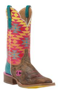 Cinch Women's El Paso Tan with Multicolor Aztec Printed Top Square Toe Western Boots | Cavender's