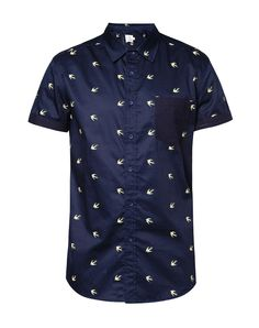 Overall Bird Print Short Sleeve Cotton Poplin Shirt  by 24:01. Blue shirt with a bird pattern allover, this blue shirt made of cotton, front button, short sleeves, look casual with this  a cool pattern shfort, perfect for casual style, pair it with a jeans and chukka boots for casual style.   http://www.zocko.com/z/JILEh