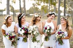 So much gorgeousness in this magical pic of bride and bridesmaids holding their Oh Fleur wedding flowers with flower crowns | FLOWERS: @ohfleur | PHOTO CREDIT: Ben Howland Photography - @benhowland