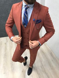 Collection: Spring – Summer 19 Product: Slim-Fit Suit Vest Color Code: Orange Size: Suit Material: poly, viscose Machine Washable: No Fitting: Slim-fit Package Include: Coat, Prom Suits For Men, Suits For Sale, Slim Fit Suits, Tailored Suits, Mens Fashion Suits, Mens Suits, Men's Fashion, Fashion Clothes, Traje Slim