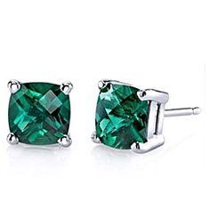 5.5 Ct Cushion Cut 10K White Gold Emerald Stud Earrings May Birthstone by JewelryHub on Opensky