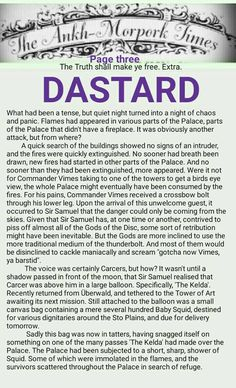 The Ankh-Morpork Times. The Truth shall make ye free. Extra. DASTARD. page three. by David Green 7 March 2016