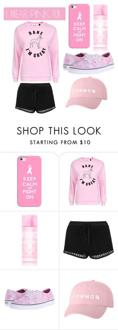"""""""I wear pink for cancer"""" by watermelon-cdxii ❤ liked on Polyvore featuring Casetify, Topshop, Vans and IWearPinkFor"""