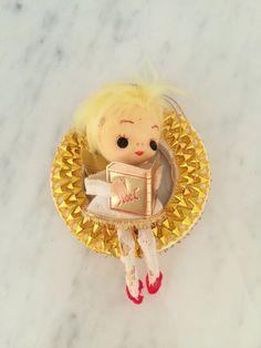 Vintage Angel Ornament Felt Angel Gold Wreath Ornament by Comforte