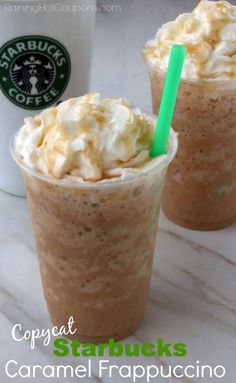 Copycat Starbucks Caramel Frappuccino 1 cup double-strength Starbucks Coffee (cold) 3/4 cup Milk 3 tbsp Sugar 2 cup Ice 1/8 tsp Xanthan Gum (optional) Drizzle Torani Carmel Sauce blend till smooth top with Squirt of Whipped Cream