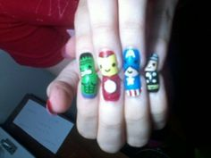 This is awesome nail art. Wish I could do this! #Avengers