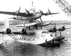British - Short S.21 Maia (G-ADHK) a Short S.20 Mercury (G-ADHJ) of the  Imperial Airways was a Piggy Back Long Range Seaplane/Flying Boat Combination Produced to Provide a Reliable Long Range Air Transport Service to the US and the Far Reaches of the British Empire and the Commonwealth (1)