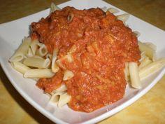 Macarrones con carne enlatada Ingredientes: (para 4 comensales) 400 Gramos de macarrones 1 Lata de carne de vacuno de 198...