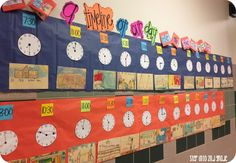 A timeline of our day as second graders! Must do this during telling time unit later in the year. 2nd Grade Classroom, Math Classroom, Math Resources, Math Activities, Classroom Resources, Math Games, Classroom Ideas, Second Grade Math, Grade 2