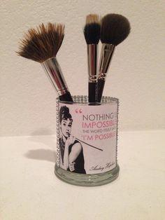 Audrey Hepburn inspired makeup brush holder by MLGalore on Etsy Makeup Jars, Makeup Brushes, Makeup Storage, Makeup Organization, Audrey Hepburn Inspired, Makeup Brush Holders, Makeup Rooms, Makeup Guide, Cute Makeup