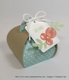 March 12, 2015 Mary Fish, Stampin' Pretty: Stampin' Up! Best Buds Curvy Keepsake Box One Tag Fits All, From The Garden Photopolymer, Subtles Designer Buttons