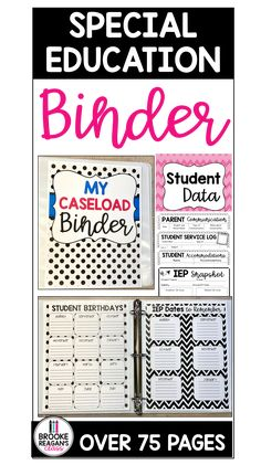 Special education caseload binder has everything you need in ONE place to help keep you organized with all your student information, data, goal tracking, IEP meeting information and MORE! #caseloadbinder #IEPcaseload #specialeducationbinder #spedbinder #IEPdata Student Birthdays, Iep Meetings, Goal Tracking, Student Information, School Calendar, Special Education Teacher, Binder, Teaching, Student Info