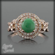 Cabochon Jade and Diamond Double Halo and by LaurieSarahDesigns, $1899.00