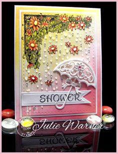 Bridal/baby shower card, sponged & colored with Copics - Serendipity images/dies & Spellbinders dies