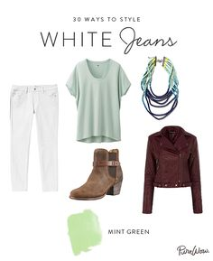 Wanna sport your dust-kickin' ankle boots all year long? If so, look to muted pastels like a mint-green tee to make those guys work with white jeans. (A worn-in leather jacket also applies for evening.)