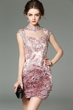 Check the details and price of this Pink Embroidery Sleeveless Sheer luxurious Mini Dress (Pink, Ewheat) and buy it online. VIPme.com offers high-quality Party Dresses at affordable price.
