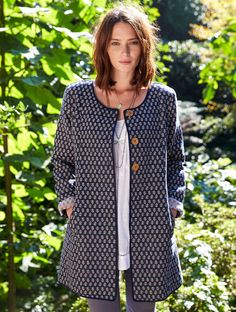 This Handloom Jacket is a wardrobe treasure. Traditional artisan handloom cotton in deepest midnight blue and shimmering silver options. Beautifully woven by hand, with carved wooden buttons. A contemporary timeless piece that will travel with you for a long time.