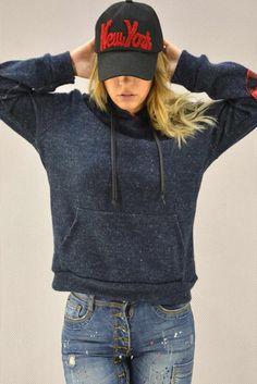 Γυναικεία μπλούζα πλεκτή με κουκούλα  MPLU-0768-bl Πλεκτά - Πλεκτά και ζακέτες Athletic, Jackets, Fashion, Down Jackets, Moda, Athlete, Fashion Styles, Deporte, Fashion Illustrations