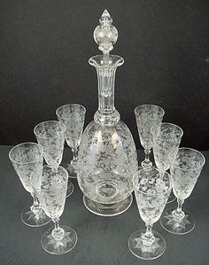 antique etched crystal stemware | Antique Baccarat Etched Crystal Decanter & Glasses. French, c.1900.