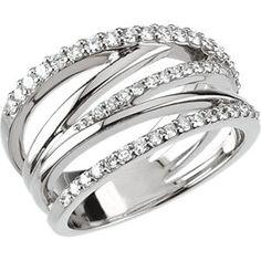 14kt White 1/2 CTW Diamond Criss Cross Ring | Stuller