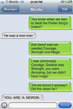 merlin and arthur text messages - Google Search